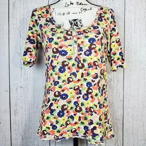 LOFT | Abstract Floral Exposed Hem Button Tee Top